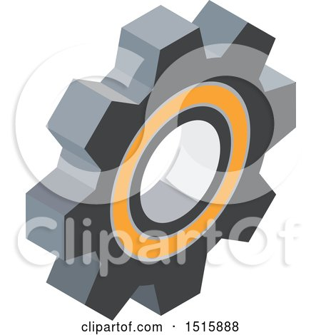 Clipart of a 3d Icon of a Gear Cog Wheel - Royalty Free Vector Illustration by beboy
