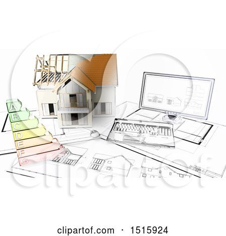 Clipart of a Half 3d Sketched Built House on Blueprints by a Computer - Royalty Free Illustration by KJ Pargeter