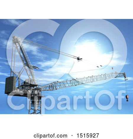 Clipart of a 3d Industrial Construction Crane Against a Blue Sky - Royalty Free Illustration by KJ Pargeter