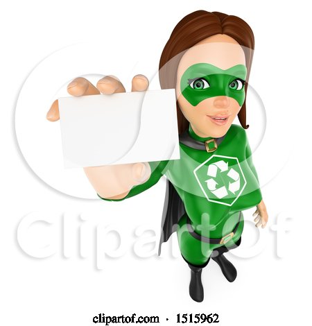 Clipart of a 3d recycle super woman holding up a business card on a clipart of a 3d recycle super woman holding up a business card on a white background royalty free illustration by texelart colourmoves