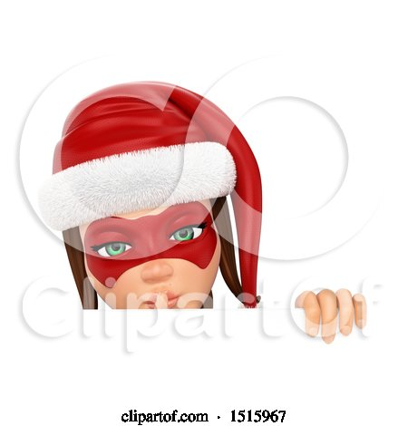 Clipart of a 3d Christmas Woman Holding a Finger over Her Lips over a Sign, on a White Background - Royalty Free Illustration by Texelart