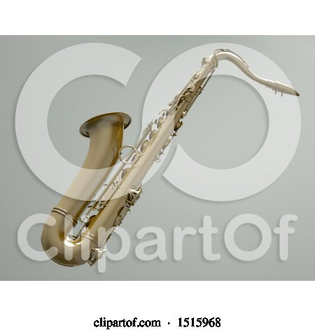 Clipart of a 3d Saxophone over a Shaded Gray Background - Royalty Free Illustration by chrisroll
