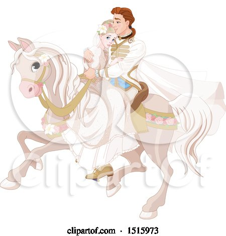 Clipart of a Princess and Prince Wedding Couple on a Horse - Royalty Free Vector Illustration by Pushkin