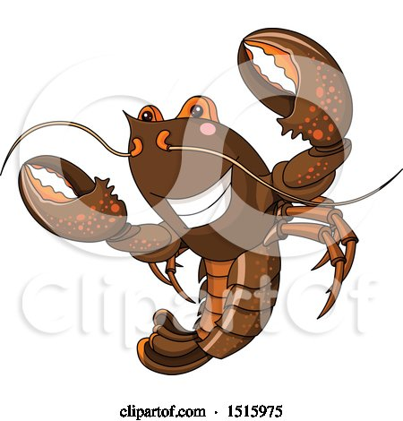 Clipart of a Cute Happy Lobster - Royalty Free Vector Illustration by Pushkin