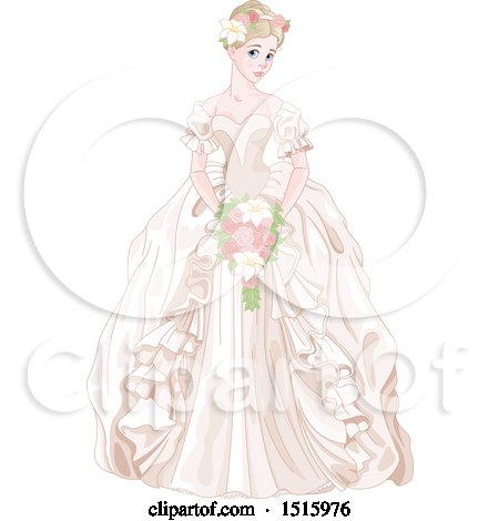 Clipart of a Princess Bride in a Cream Gown, Holding a Bouquet - Royalty Free Vector Illustration by Pushkin