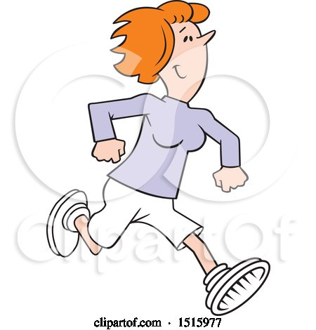 Clipart of a Cartoon Happy Red Haired Woman Running - Royalty Free Vector Illustration by Johnny Sajem