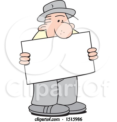 Clipart of a Cartoon Old Man Holding a Blank Sign - Royalty Free Vector Illustration by Johnny Sajem