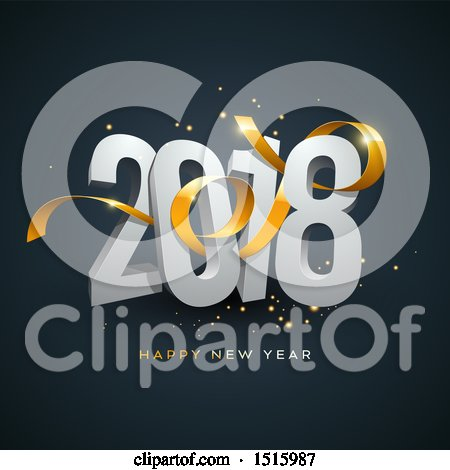 Clipart of a 3d Happy New Year 2018 Design with a Gold Ribbon and Sparkles on Dark Blue - Royalty Free Vector Illustration by beboy
