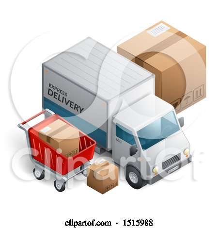 Clipart of a 3d Delivery Truck with Boxes and a Shopping Cart - Royalty Free Vector Illustration by beboy