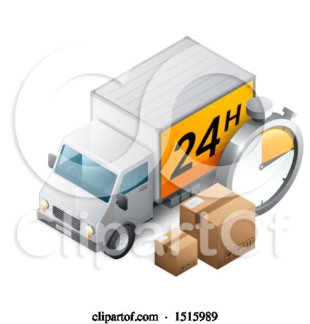Clipart of a 3d Delivery Truck with a 24 Hour Sign, Boxes and a Timer - Royalty Free Vector Illustration by beboy