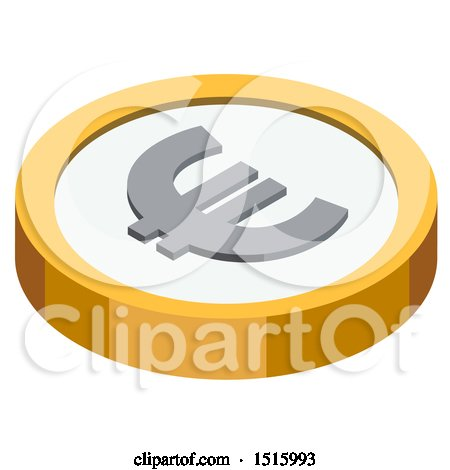 Clipart of a 3d Isometric Euro Financial Icon - Royalty Free Vector Illustration by beboy