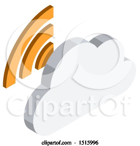 Clipart of a 3d Isometric Cloud and Signal Icon - Royalty Free Vector Illustration by beboy