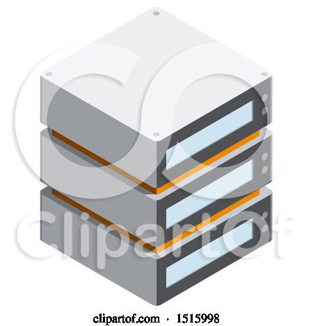 Clipart of a 3d Isometric Server Icon - Royalty Free Vector Illustration by beboy