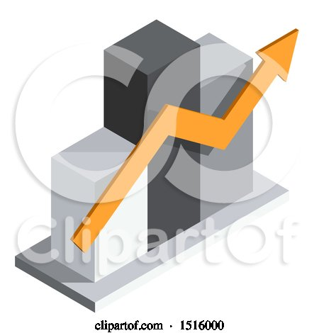 Clipart of a 3d Isometric Bar Graph and Arrow Icon - Royalty Free Vector Illustration by beboy