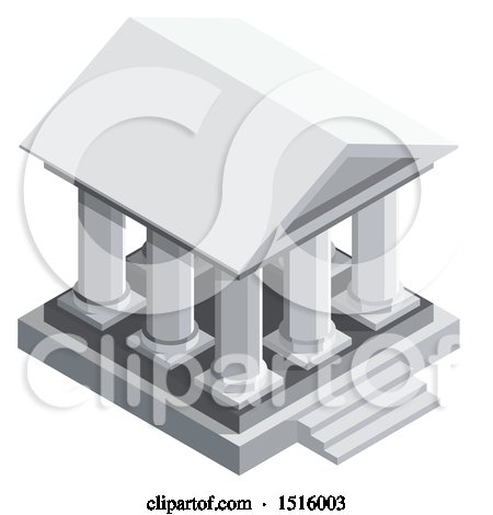 Clipart of a 3d Isometric Bank Icon - Royalty Free Vector Illustration by beboy