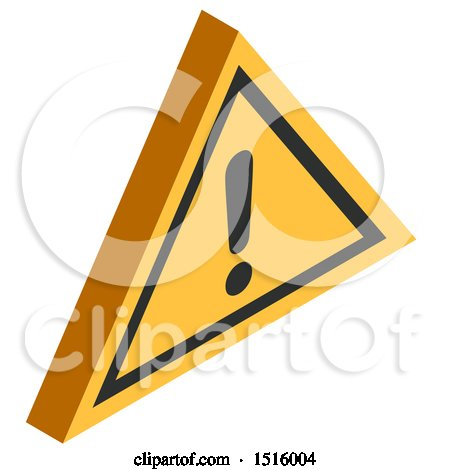 Clipart of a 3d Isometric Warning Sign Icon - Royalty Free Vector Illustration by beboy