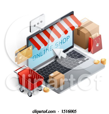 Clipart of a 3d Laptop Computer with an Online Shop, Message, Credit Cards, Cart and Boxes - Royalty Free Vector Illustration by beboy