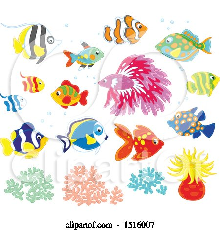 Clipart of Tropical Marine Fish, Anemone and Coral - Royalty Free Vector Illustration by Alex Bannykh
