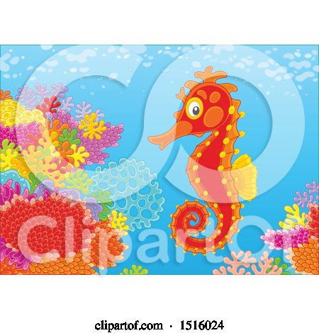 Clipart of a Seahorse at a Reef - Royalty Free Vector Illustration by Alex Bannykh
