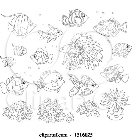 Clipart of Black and White Tropical Marine Fish, Anemone and Coral - Royalty Free Vector Illustration by Alex Bannykh
