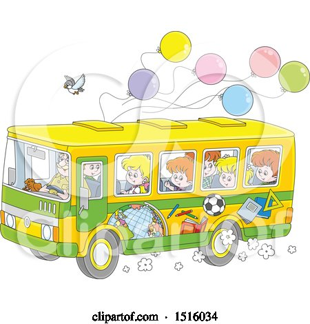 Clipart of a School Bus with Children, a Bird and Ballonos - Royalty Free Vector Illustration by Alex Bannykh