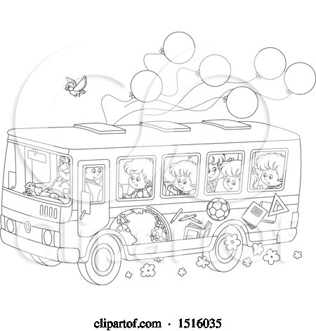 Clipart of a Black and White School Bus with Children, a Bird and Ballonos - Royalty Free Vector Illustration by Alex Bannykh