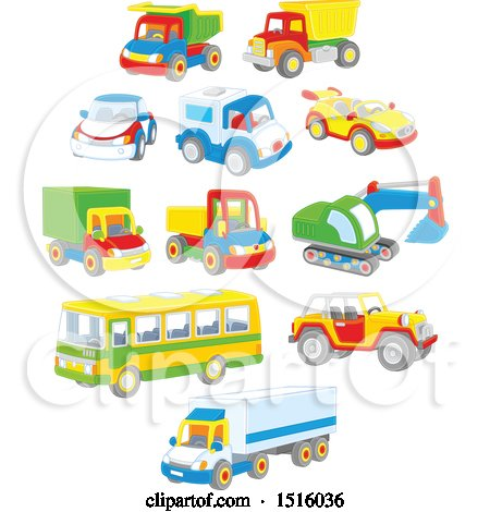 Clipart of Colorful Toy Cars and Trucks - Royalty Free Vector Illustration by Alex Bannykh