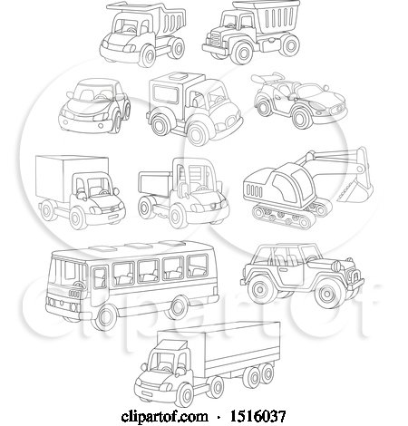 Clipart of Black and White Toy Cars and Trucks - Royalty Free Vector Illustration by Alex Bannykh