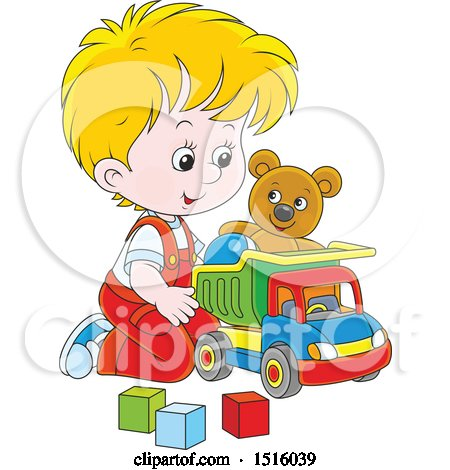 Clipart of a Little White Boy Playing with a Toy Dump Truck, Teddy Bear and Blocks - Royalty Free Vector Illustration by Alex Bannykh