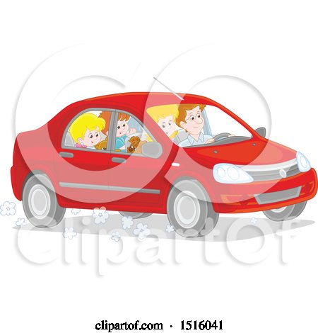 Clipart of a Happy Family Going on a Road Trip - Royalty Free Vector Illustration by Alex Bannykh