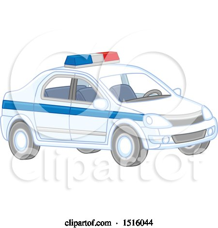 Clipart of a Police Car - Royalty Free Vector Illustration by Alex Bannykh