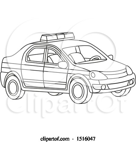 Clipart of a Black and White Police Car - Royalty Free Vector Illustration by Alex Bannykh