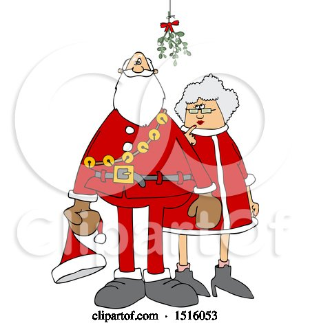 Clipart of a Cartoon Christmas Santa Claus and the Mrs Under the Mistletoe - Royalty Free Vector Illustration by djart