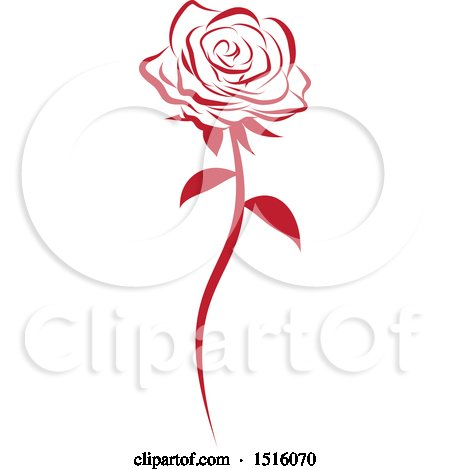 Clipart of a Red Rose - Royalty Free Vector Illustration by Vitmary Rodriguez
