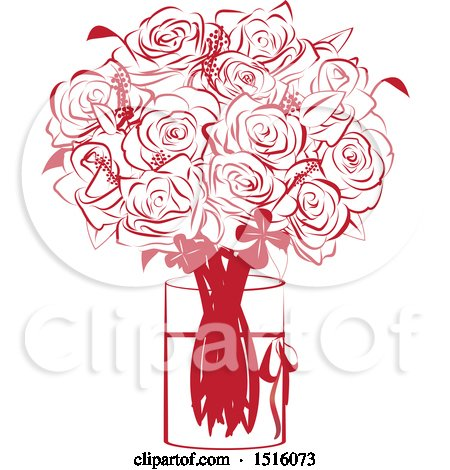 Clipart of a Red Rose Bouquet in a Vase - Royalty Free Vector Illustration by Vitmary Rodriguez