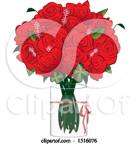 Clipart of a Red Rose Boquet in a Vase - Royalty Free Vector Illustration by Vitmary Rodriguez