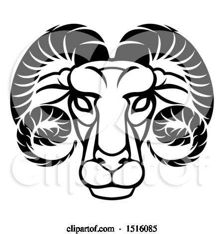 Clipart of a Zodiac Horoscope Astrology Aries Ram Design, Black and White - Royalty Free Vector Illustration by AtStockIllustration