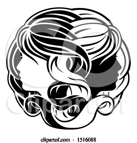 Clipart of a Zodiac Horoscope Astrology Gemini Twins Design in Black and White - Royalty Free Vector Illustration by AtStockIllustration