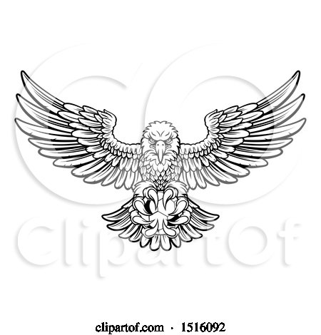 Clipart of a Black and White Swooping American Bald Eagle with a Soccer Ball in His Talons - Royalty Free Vector Illustration by AtStockIllustration