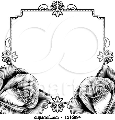 Clipart of a Black and White Border or Wedding Invitation with Roses - Royalty Free Vector Illustration by AtStockIllustration