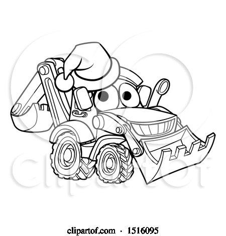 Clipart of a Lineart Bulldozer Digger Mascot Character Wearing a Santa Hat - Royalty Free Vector Illustration by AtStockIllustration