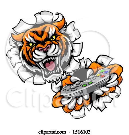 Clipart of a Tiger Mascot Playing a Video Game and Breaking Through a Wall - Royalty Free Vector Illustration by AtStockIllustration
