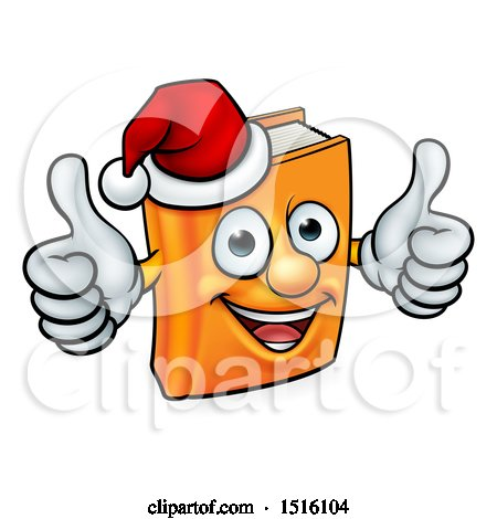 Clipart of a Christmas Story Book Character Mascot Giving Two Thumbs up and Wearing a Santa Hat - Royalty Free Vector Illustration by AtStockIllustration