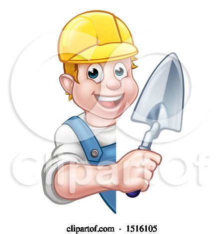 Clipart of a White Male Mason Worker Holding a Trowel Around a Sign - Royalty Free Vector Illustration by AtStockIllustration