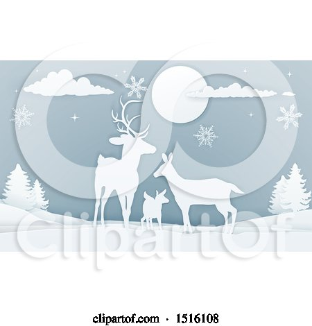 Clipart of a Paper Craft Styled Deer Family with Snowflakes at Night - Royalty Free Vector Illustration by AtStockIllustration
