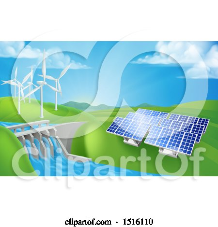 Clipart of a Landscape of Renewable Energy Plants with a Dam, Solar Panels, and Wind Turbines - Royalty Free Vector Illustration by AtStockIllustration