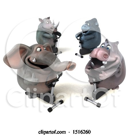 3d Elephant Gorilla Hippo and Rhino on Spin Bikes, on a White Background Posters, Art Prints