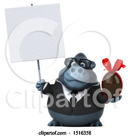 Clipart of a 3d Business Gorilla Mascot Holding a Chocolate Egg, on a White Background - Royalty Free Illustration by Julos