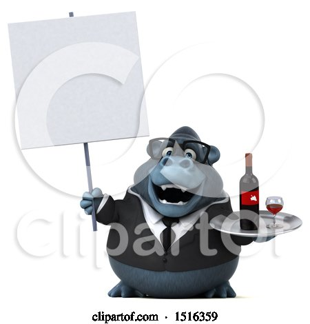 Clipart of a 3d Business Gorilla Mascot Holding Wine, on a White Background - Royalty Free Illustration by Julos