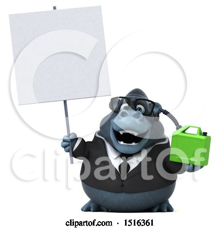 Clipart of a 3d Business Gorilla Mascot Holding a Gas Can, on a White Background - Royalty Free Illustration by Julos
